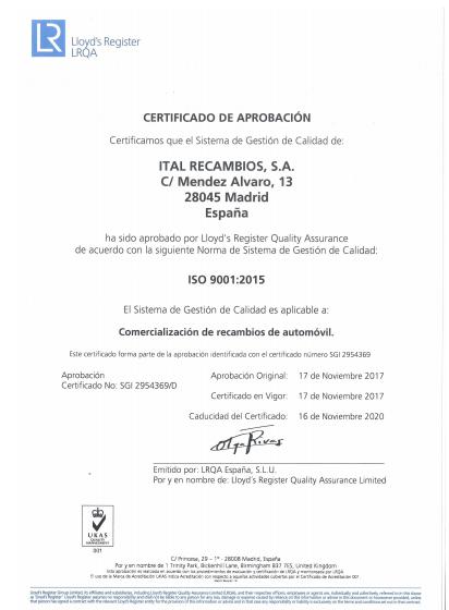 Certificado Ital